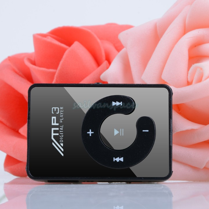 New Fashion MINI clip mirror USD MP3 Player with Micro TF/SD card Slot with mini MP3 (only mp3) Black Drop Shipping 51(China (Mainland))