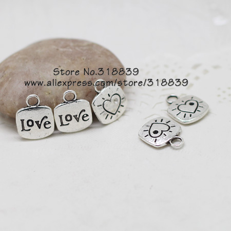 Wholesale 30pcs/lot 14*18mm Antique Silver Metal Cameo Hearts Love Charm Jewelry Letter Charms 7034