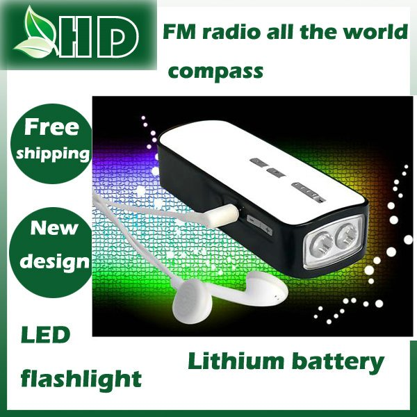Free shipping Hand power LED flash light compass port built in rechargeable ease to carry FM radio(China (Mainland))