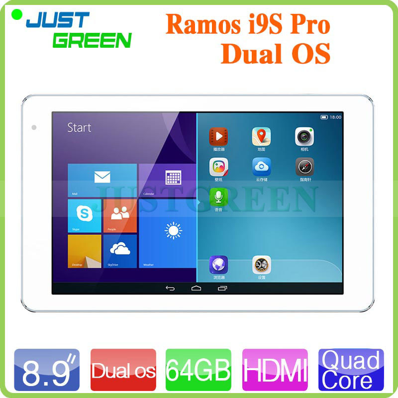 8.9 inch Dual Boot Quad Core Tablet PC Ramos i9s Pro Windows8+Android 4.4.2 OS 2GB RAM 64GB ROM IPS Retina Camera 5MP(China (Mainland))