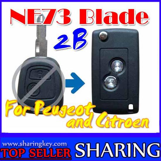 Flip Remote Key Case For Peugoet Citroen 2 Button Remote NE73 Key