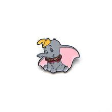 P2857 Dongmanli Elefante Del Metallo Dello Smalto Spilli E Spille per Le Donne Degli Uomini Del Risvolto Spille Borse Zaino Distintivo per Bambini Regali(China)