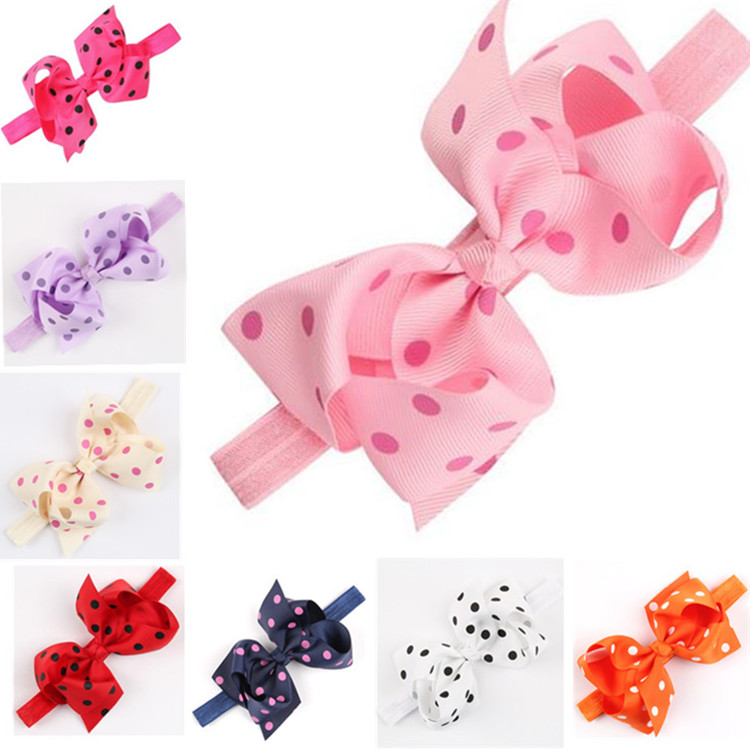 2015 New Arrival Lovely Baby Girls Ribbon Dot Pattern Head Accessories Cute Bowknot Decoration Hairband Elastic Band 14 Colors(China (Mainland))