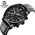 Luxury OCHSTIN Quartz casual Watches Men analog chronograph Sports Military Leather Strap Fashion Wrist Watch Relogio