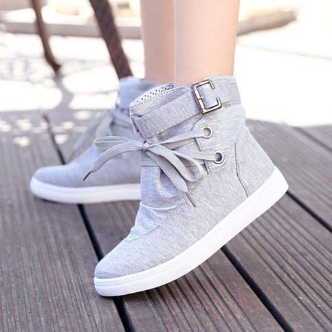 Women Sneakers Boots Canvas Shoes 2015 New Autumn Winter Fashion Brand Eur Size 36-40 Solid Lace-Up Casual Ankle Boot Flats 1524(China (Mainland))