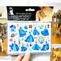 Cinderella Child Girl Temporary Flash Tattoo Body Art Sticker 17 10cm Waterproof Tatoo painless Henna selfie