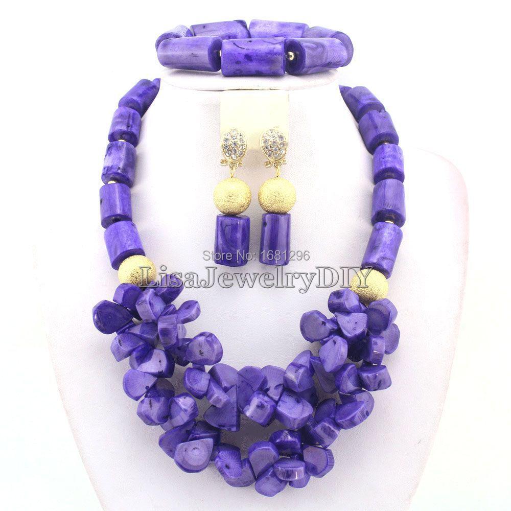 African Nigerian Wedding Purple Coral Beads Jewelry Sets Fashion Bridal Jewelry Set Free Shipping  HD0474<br><br>Aliexpress