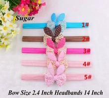 2.4″ Fashion Cute Newborn Bunny Ear Headbands For Girls DIY Hair Bow Soft Baby Elastic Hair Accessories