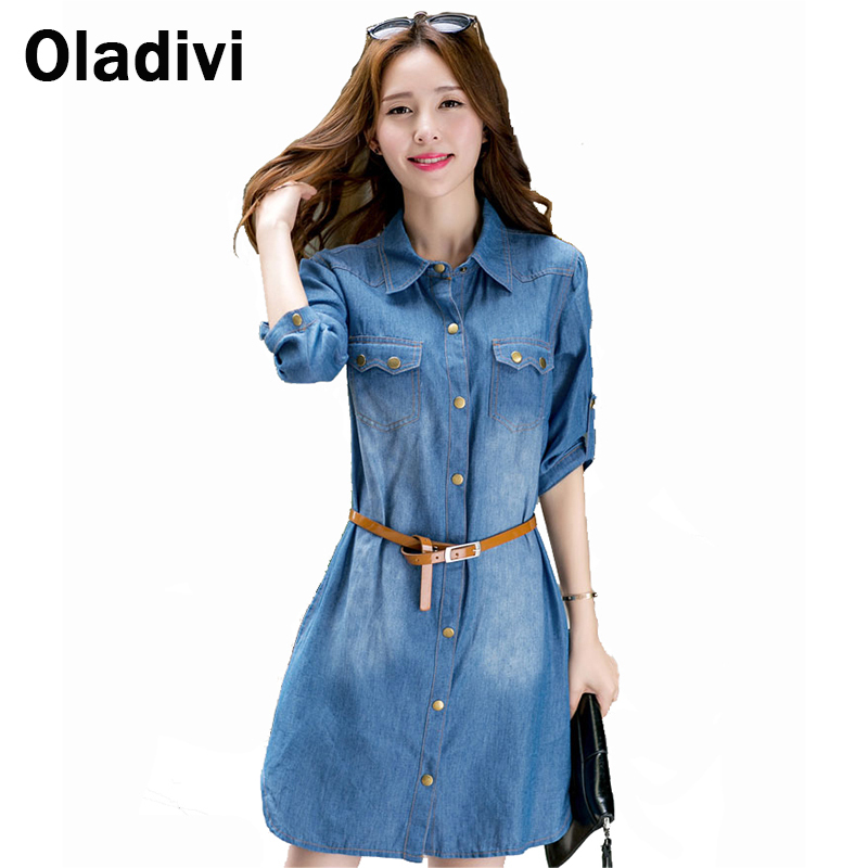 XXXXXL Plus Size Casual Denim Dress 2016 Spring Autumn New Fashion Women Clothing Vintage Female Jeans Shirt Blouse Dresses 5XL - Oladivi official store