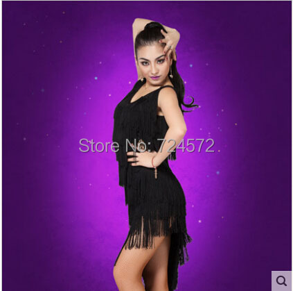 Latin dance costume ice silk tassle latin dance dress for women latin dance competition black dressОдежда и ак�е��уары<br><br><br>Aliexpress