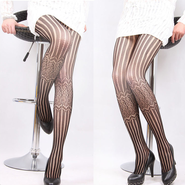 Black lace vintage jacquard e vertical stripe fishing net stockings female pantyhose