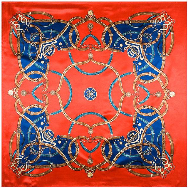 90 см * 90 см национальный чешский стиль цепочка крашенный подбора цветов женщины шелкового атласа большой косынка