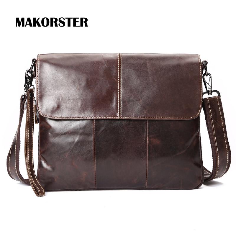 New Arrivals Genuine Leather Men's Crossbody Bags Messenger Shoulder Bag Brand Vintage Brown 2016 LS/094(China (Mainland))