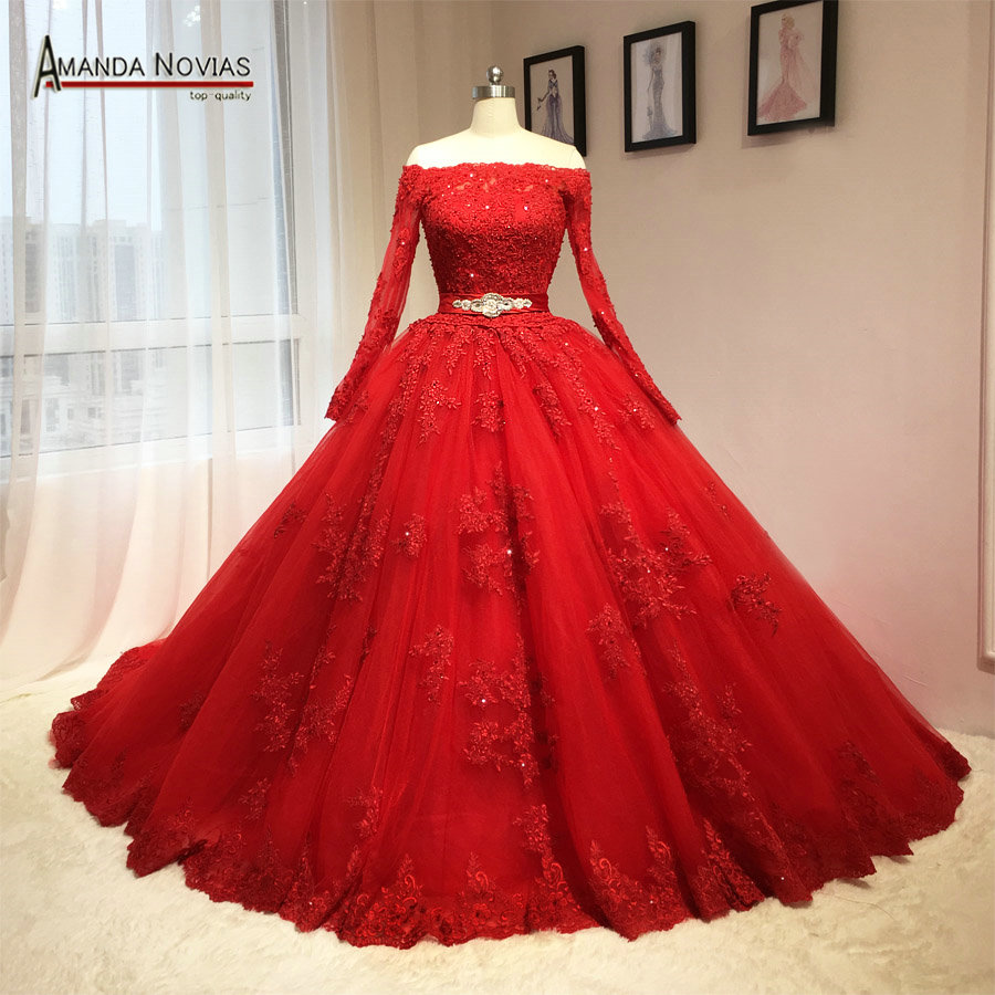 2016 newest red wedding dress puffy ball gown long sleeves patterns in wedding dresses from. Black Bedroom Furniture Sets. Home Design Ideas
