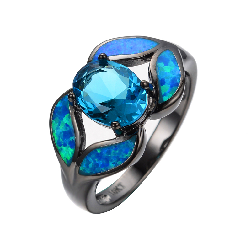 Romantic Leaf Style Ocean Blue Opal Rings For Women Black Gold Filled Mysterious Jewelry Party Aquamarine Zircon Ring RB0284(China (Mainland))