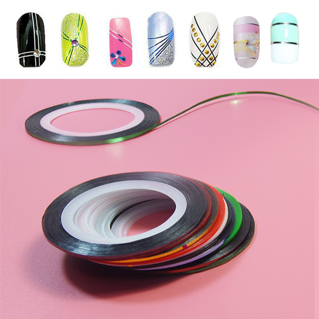 New 10Pcs per set  Mixed Colors Nail Rolls Striping Tape Line DIY Nail Art Tips Decoration Sticker Nails Care for nail makeup
