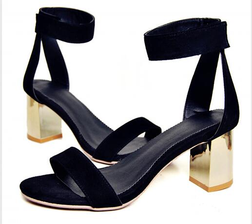 2015 woman suede sheepskin leather thick square heels sandals ladies pumps,women open toe shoes sandalias sandalias femininas(China (Mainland))