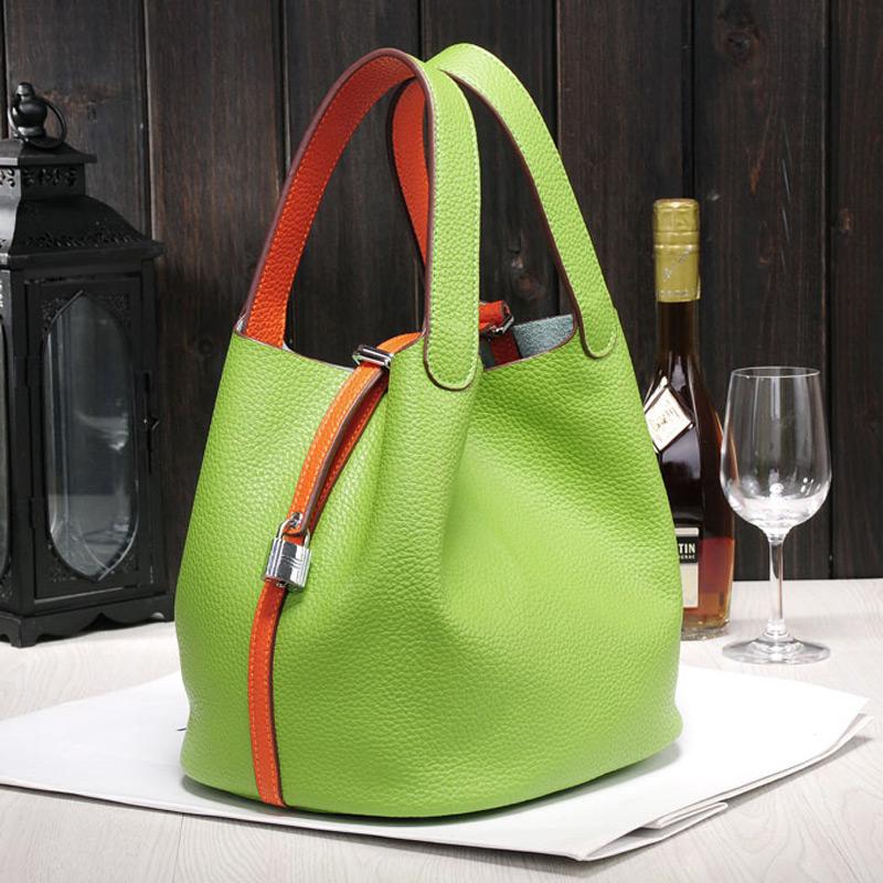 2016 Luxury genuine leather guaranteed cowhide women handbag Famous brand lady lock bags female handbag bucket shopping bags
