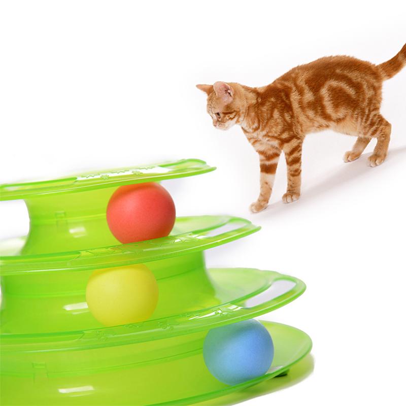 2016 HOT Pet Cat Ball Educational TrainingToysTower of Tracks Three Levels Luxury Trilaminar Balls Kitty Play(China (Mainland))