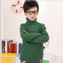Free shipping wholesale children autumn winter warm high collar knitted sweaters casual solid long sleeve sweater five color(China (Mainland))