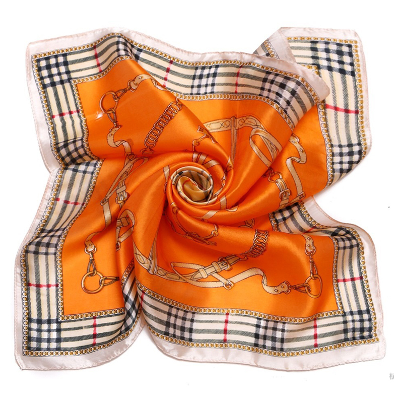 LING/The European Style Plaid Silk Scarf,2015 New Fashion Square Foulard Women Snood Satin Scarf,Lustre Bandana/XF88047(China (Mainland))