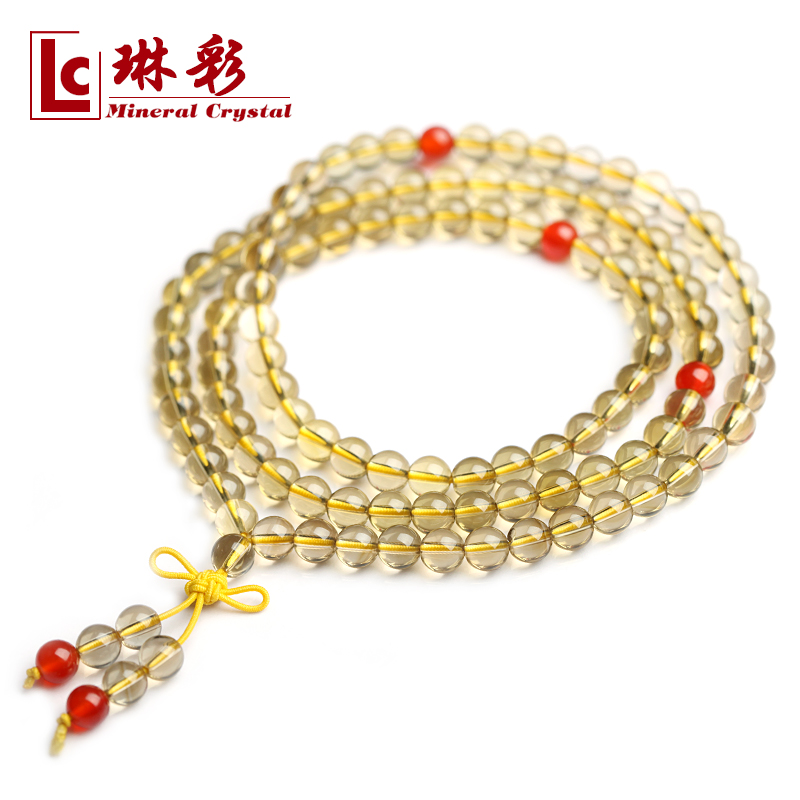 Yellow crystal bracelet natural crystal beads lucky 108 male Women certificate<br><br>Aliexpress