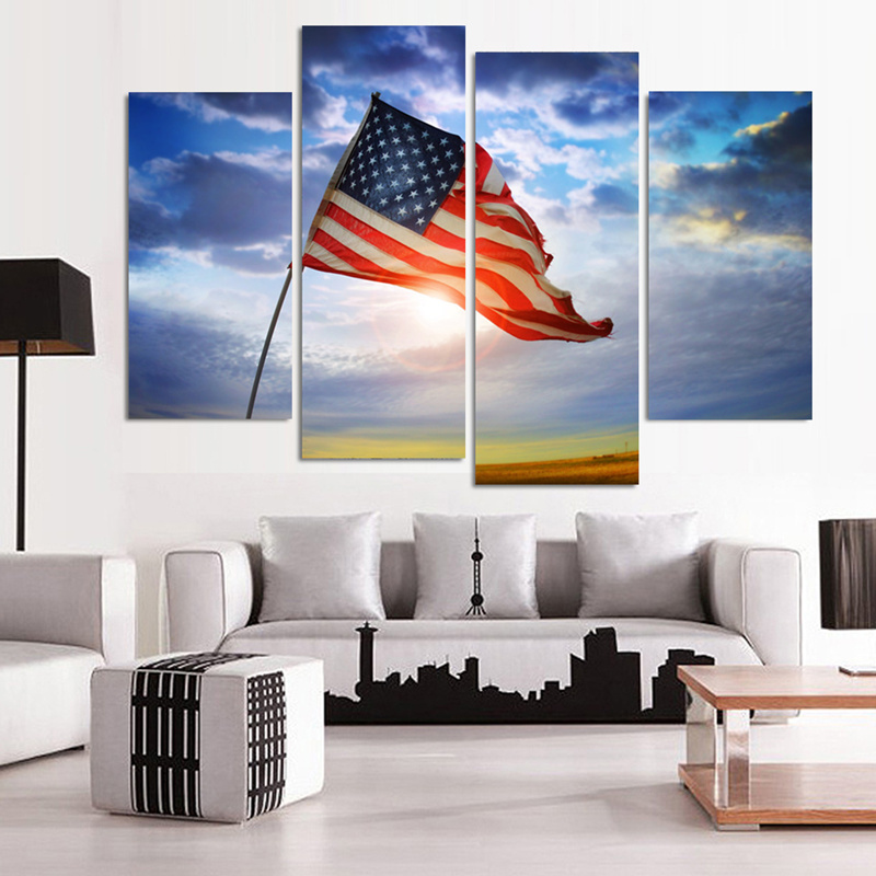 4 pcs modern wall canvas painting american flag home decor for 12x16 living room ideas