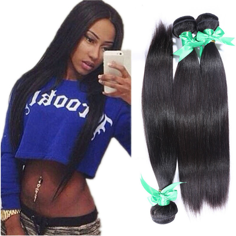 Peruvian virgin hair straight  3pcs unprocessed human hair extensions dyeable natural black hair free shipping human hair weave