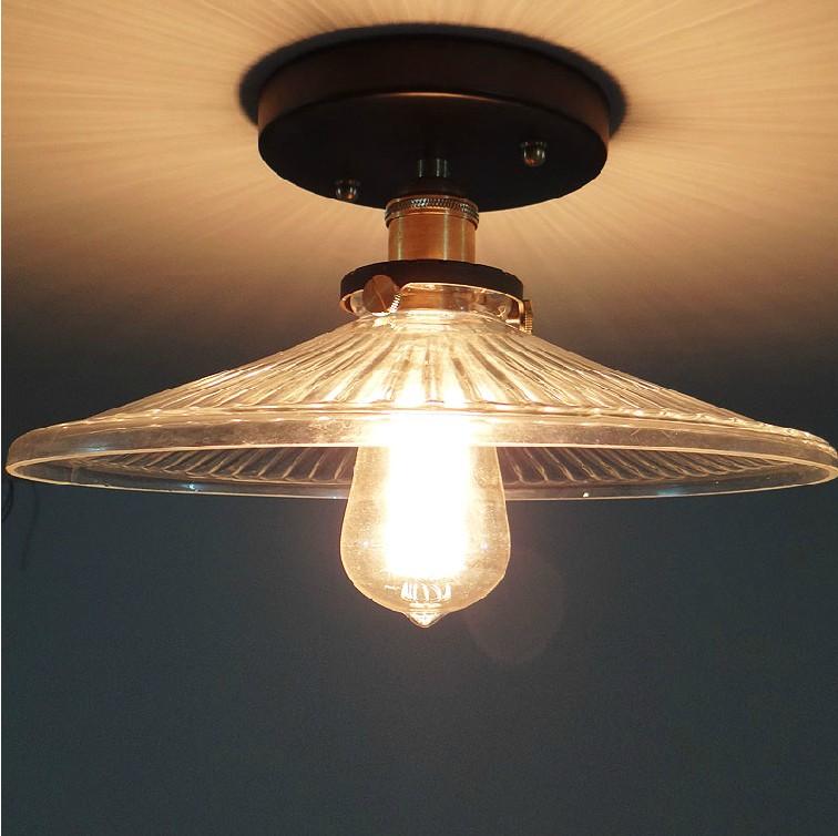 Edison Vintage Ceiling Lights Copper+Glass Lamp Cover Lighting Ceiling Light Corridor lights With 40W Edison Light Bulbs<br><br>Aliexpress