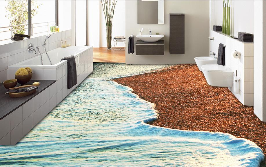Photo 3d floor tiles wallpaper shells on the beach 3d for Living room 3d tiles