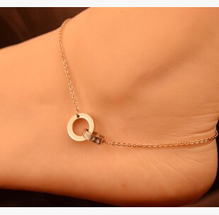 Double circle anklets rose gold chains 25cm no fading/allergic fashion MS-048(China (Mainland))