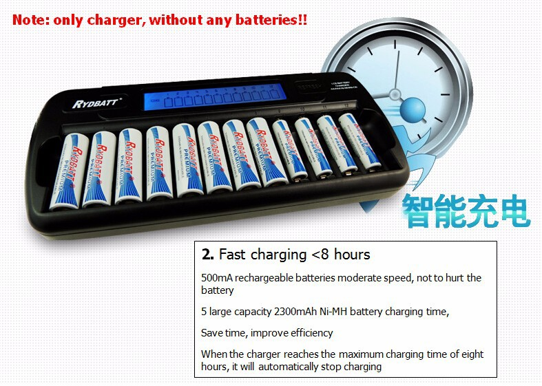 12 Bay/Slot LCD Smart Battery Charger for AA AAA NiCd NiHM Rechargeable Batteries Quality Warranty Excellent Quality(China (Mainland))