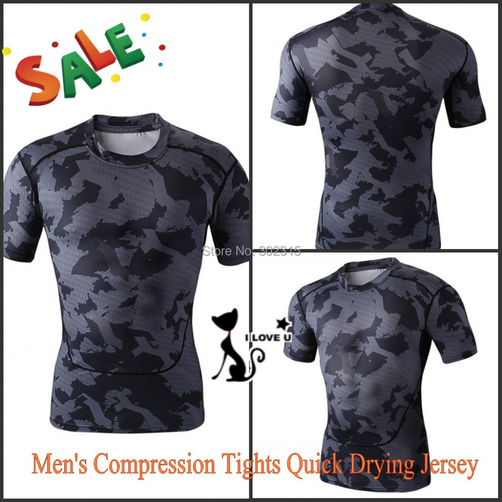 Mens Compression Tights Jersey Fitness T-shirt Quick Drying Running Cycling Sport T-Shirt Gym Workout Hiking Tops