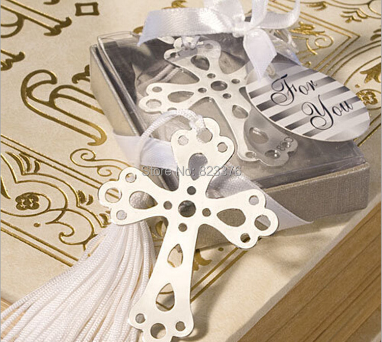 DHL Freeshipping 200pcs Creative stainless steel bookmarks Cross Bookmark Christening baby shower party favors wedding gift(China (Mainland))