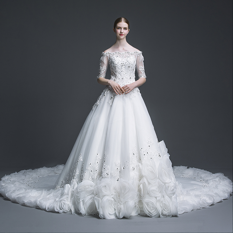 Popular cathedral length train wedding gowns buy cheap for Wedding dresses with royal length train