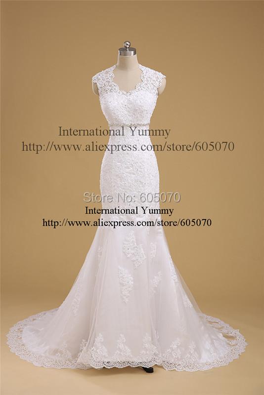 Real Photo Custom Made Wedding Dress Strapless V-neck Sleeveless Mermaid Floor-length White Lace Backless vestidos de novia - International Yummy Store store