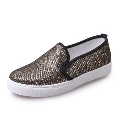 new sequined cloth flat shoes glitter black sliver