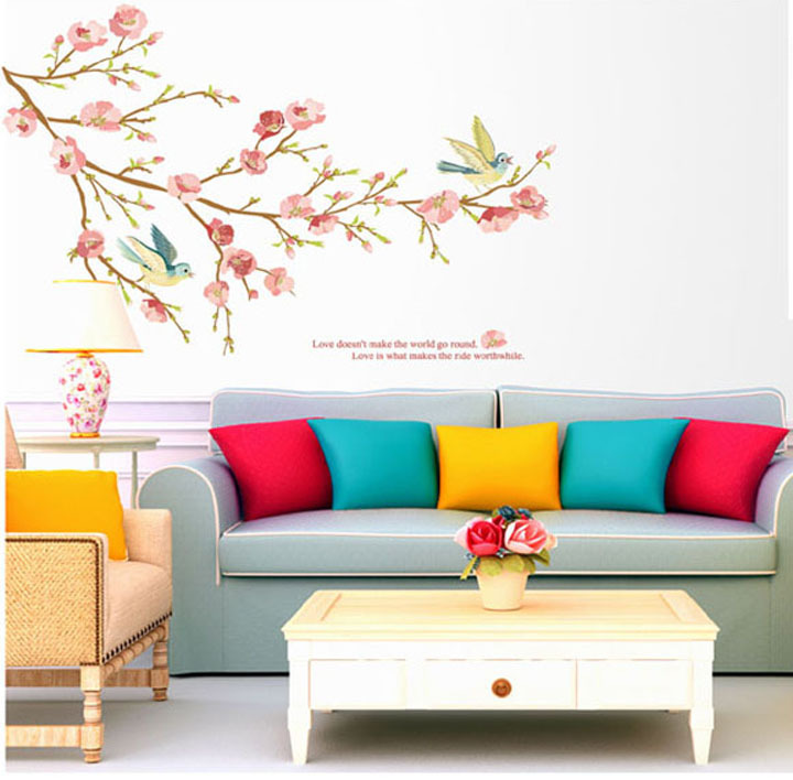 2015 new style diy product pvc wall sticker for drawing room wall stickers home decor beautiful for Beautiful wall stickers for living room