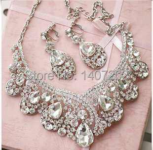 New Style bridal Luxury crystal necklace and earring for wedding high quality romantic wedding accessories whole set jewelry(China (Mainland))