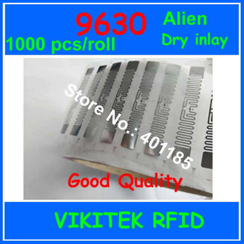 Alien authoried 9630 UHF RFID dry inlay 1000pcs per roll 860-960MHZ Higgs3 915M EPC C1G2 ISO18000-6C can be used RFID tag label(China (Mainland))