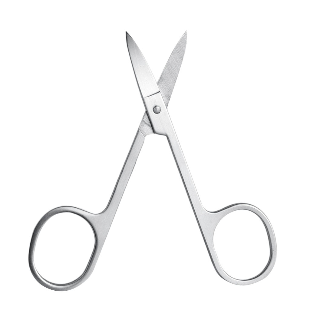 Stainless Steel Scissor Trimmer with Curved Edge Blades for Eyebrow Nose Hair Facial Hairs and Eyelash Makeup Tool