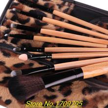 2015 New Arrival 8Pcs Blush Eyeshadow Mascara Lip Makeup Brushes Cosmetic Sets +Leopard Case