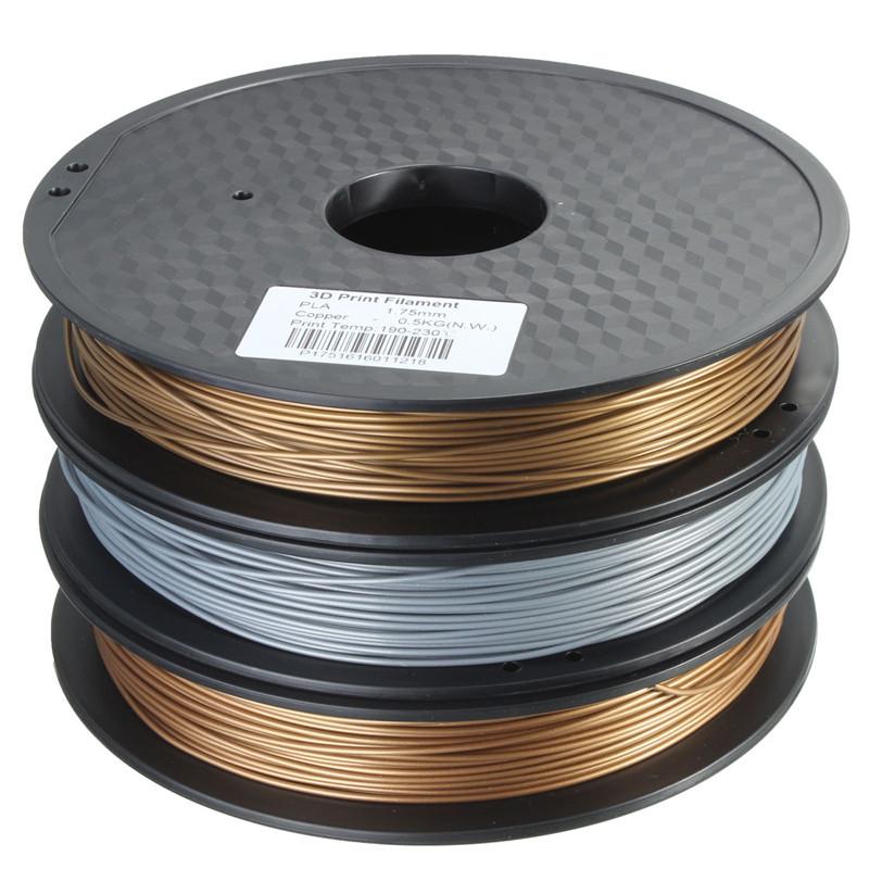 1pcs Brand New Metal PLA Blended 3D Filament 1.75mm 0.5kg for RepRap 3D Printer Materials Three colors