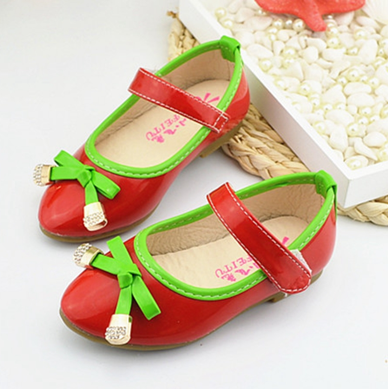 2015 Spring Meninas Red Dress Shoes Cow Muscle Sole Strass Zapatos Princesa Todder Kids Children High Heels For Baby Girls TX67(China (Mainland))