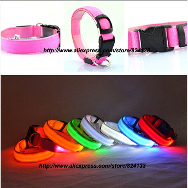 50pcs cheap wholesale led dog collar pet collar for small large dogs pets,mixed colors free shipping(China (Mainland))