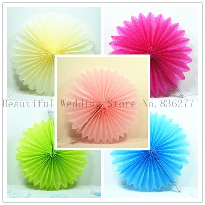 30pcs/Lot 20cm Hollow Fan Tissue Paper Umbrella Wedding Party Decoration Wedding Arrangement Fan Paper Flowers Balls(China (Mainland))