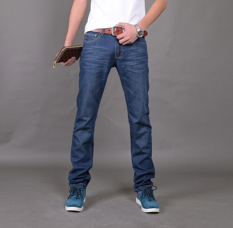 2016 New Arrival Brand Mens Classic Straight Denim Jeans Trousers Regular Fit Plain Jean Pants For All Seasons Free Shipping(China (Mainland))
