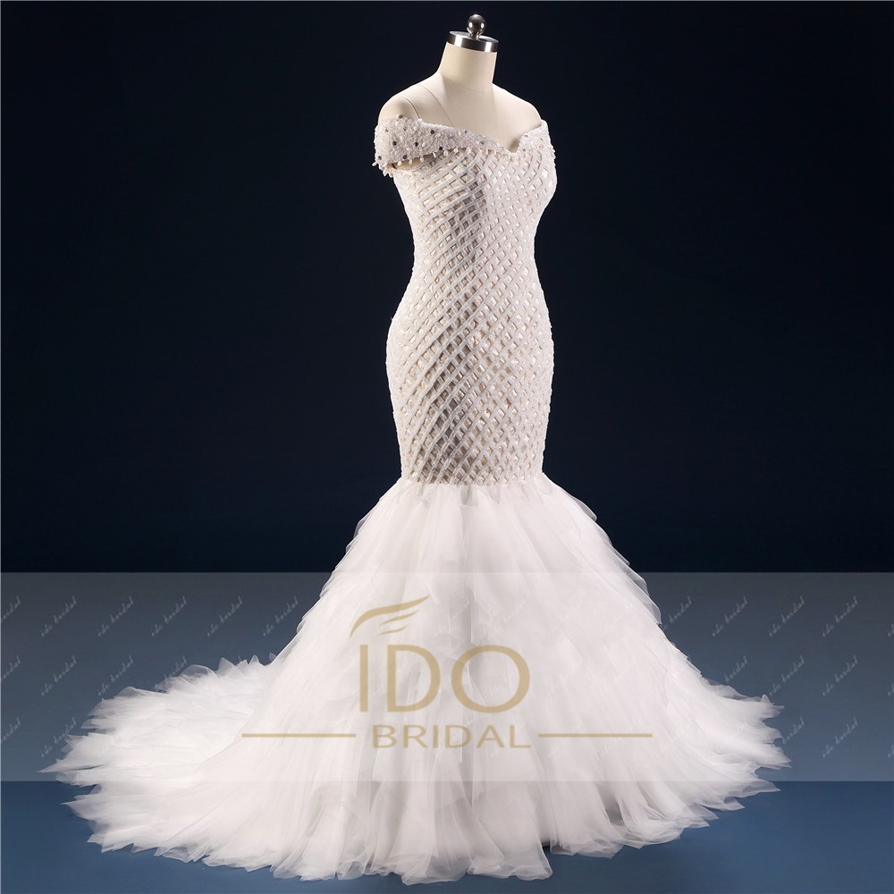 100% Real Photo Africa Luxury Off the Shoulder 2017 Mermaid Wedding Dresses with Crystal Tulle Bridal Gown Vestido de Festa RW1 4