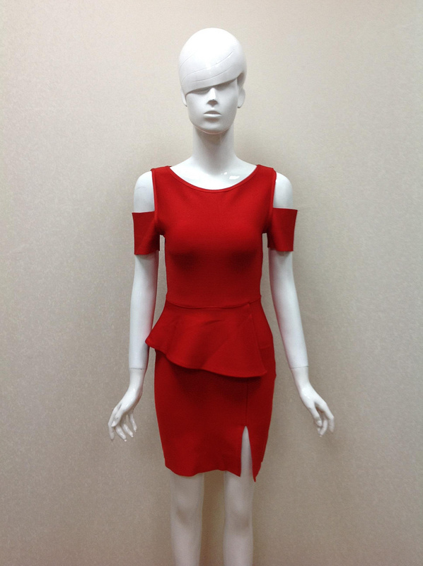 2015 New Top Quaility Women Red O Neck Short Sleeve Hollow Mini Bandage Dress Casual Party Bodycon Dresses - Fashion Factory store