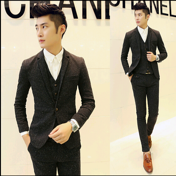 Hot 2016 Fashion Mens Sequin Tuxedo Slim Fit Custom Korean Suit 3 Piece With Vest Wedding Dress Suits For Men Black Grey M-XXL(China (Mainland))
